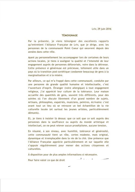 lettre Iryna VIGNANSKA